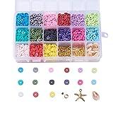 Cheriswelry 2850pcs 6 mm Kits de cuentas de arcilla polimérica planas y redondas 15 colores Espaciador de disco con encantos de estrellas de mar Cuentas de concha de cauri para hacer joyas