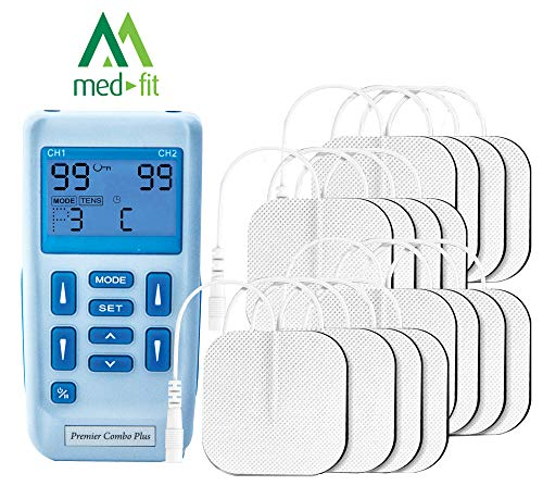 Premier Plus Rechargeable TENS Machine for Pain Relief - Combined with Muscle & Neuromuscular Simulation - 30 Easy to Use programmes-Supplied with 3 Extra Packs of Self Adhesive Pads