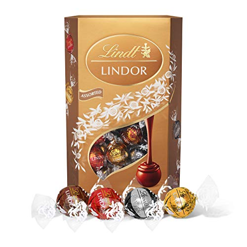 Lindt Lindor Assorted Chocolate Truffles Box - approx. 48 Balls, 600 g - The Perfect Gift - Assortment of Milk, White, Extra Dark and Hazelnut Chocolate Balls with a Smooth Melting Filling