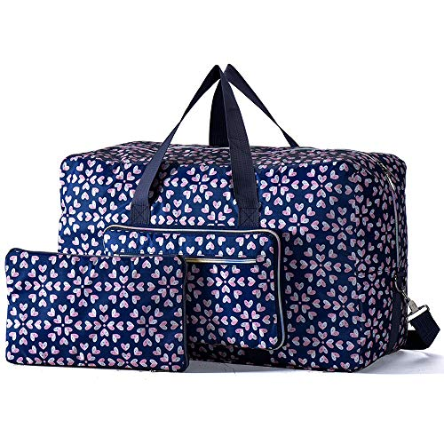 Arxus Large Foldable Duffel Tote Carry on Travel Bag over Luggage with Shoulder Strap (Heart Flower)