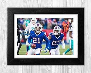 Engravia Digital Jordan Poyer & Micah Hyde Buffalo Bills NFL Reproduction Signature Poster Photo A4 Print(Black Frame)