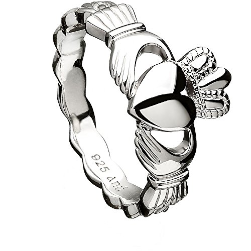 Sterling Silver Claddagh Ring ANU3014 with Celtic Weave (8)