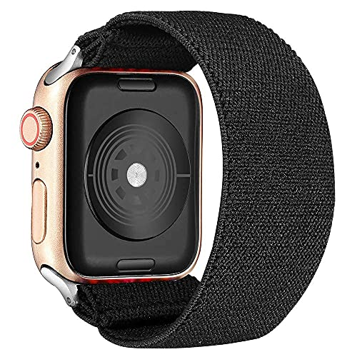 Dehnbare Elastic Woven Armband 42mm 44mm Geflochtenes Band Kompatibel mit Apple Watch Serie SE/6/5/4/3 Stoff Nylonarmband Sport Armbänder Ersatzband Schlaufenband 38mm 40mm Schwarz