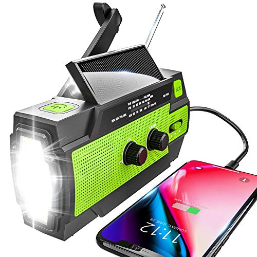 Emergency Radio Hand Crank Solar, 4000mAh Portable Weather Radio, NOAA Weather Radio, Outdoor Radio with Flashlight & Motion Sensor Reading Lamp, Solar Cell Phone Charger, SOS Alarm(Green)