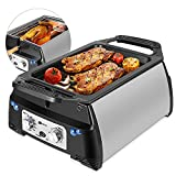 Flexzion Smokeless Indoor Grill Infrared Electric Grills for BBQ Barbeque Meat - Smoke-less Kitchen Table Top Cooking Appliances with Rotisserie Fork Kebab Skewer Accessories Timer Temperature Control