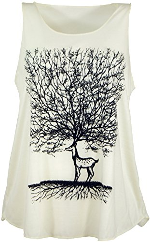 GURU SHOP Tanktop mit Ethnodruck, Damen, Deer Tree Creme, Synthetisch, Size:38, Tops & T-Shirts Alternative Bekleidung