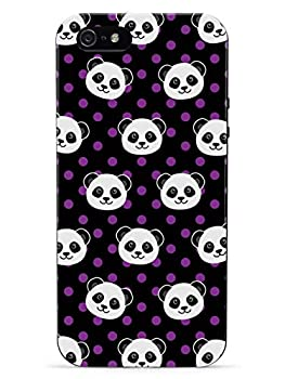Inspired Cases - 3D Textured iPhone 5c Case - Rubber Bumper Cover - Protective Phone Case for Apple iPhone 5c - Cute Panda Pattern - Purple Polka Dots - Black