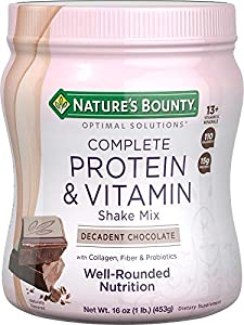 Contains (1) jar of 16 ounces of Nature's Bounty Optimal Solutions Complete Protein & Vitamin Shake Mix in chocolate. Supports healthy skin, bone health, energy metabolism, muscle health. (1) Provides digestive health support & immune health support ...