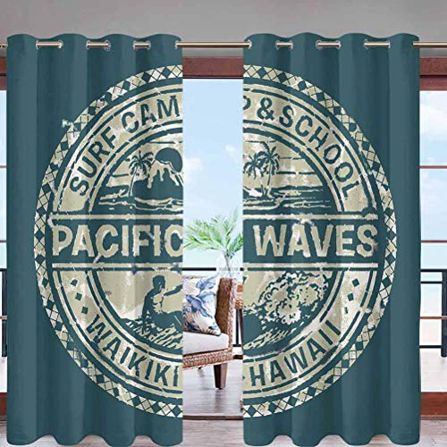 Hiiiman Outdoor Curtain UV Privacy Drape Thick Waterproof Fabric Pacific Waves Surf Camp W96 x L96 Grommet for Porch Balcony Pergola Lanai Tent Gazebo Window