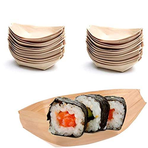 Mentin - 100 cuencos de madera en forma de barco, vajilla desechable para Finger Food, 100% ecológico y biodegradable, platos desechables