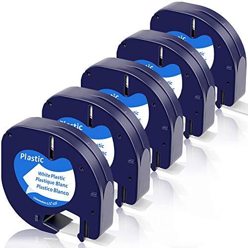 Fimax Kompatibel Kunststoffetiketten als Ersatz für Dymo Letratag Plastic White 12 mm x 4 m S0721660 (91221 91201) LT Etikettenband für LetraTag-Beschriftungsgerät LT100H, LT100T, QX50, XR
