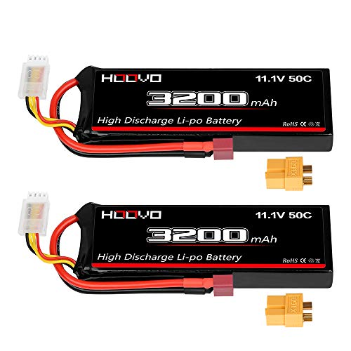 HOOVO 3S 11.1V 3200mAh 50C RC Lipo Battery with Deans and XT60 Connector for RC Car RC Helicopter Airplane Quadcopter RC Models(2 Packs)