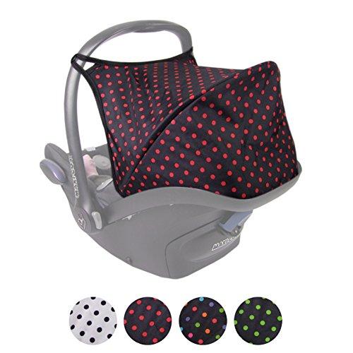 BAMBINIWELT Sonnenverdeck UV50+ für Maxi-Cosi Cabriofix, Sonnendach Babyschale, Autositz PUNKTE (schwarz - rote Punkte) XX