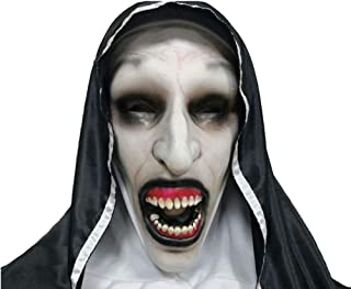 Herocos Horror Nuns Mask Cosplay Latex Mask, Open Mouth and Closed Mouth Style Evil Mask Costume Halloween Costume Props