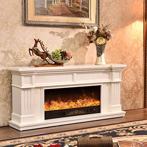 Lee 54064 ADKINC Elektrokamin, Herd und TV-Schrank, mit Fernbedienung, Standheizung für Wohnzimmer mit 3D-Flammen- und Holzrahmeneffekt, Braun, Weiß