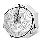 Paraguas Plegable Automático Impermeable Historia de la Bicicleta, Paraguas De Viaje Compacto a Prueba De Viento, Folding Umbrella, Dosel Reforzado, Mango Ergonómico