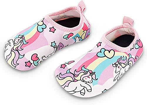 Bigib Toddler Kids Swim Water Shoes Quick Dry Non-Slip Water Skin Barefoot Sports Shoes Aqua Socks for Boys Girls Toddler, Unicorn, 5 Toddler