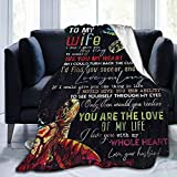to My Wife Blanket From Husband,Warm Comfort Flannel Fleece Blanket Lightweight Fuzzy Plush Blanket,Turtle Letter King Quilt 80'X60' Throw Blankets Romantic Christmas Wedding Gifts All Season Tapestry