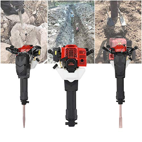 52cc Gas Powered Demolition Jack Hammer, 2 Stroke Gas Demolition Jack Hammer Concrete Breaker Punch Drill, One Man Earth Drill with Point and Flat Chisel, Punch Single Cylinder【UK in Stock】