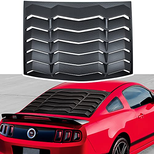 Matte Black Rear Window Louvers Sun Shade Cover in GT Lambo Style for Ford Mustang 2005-2014