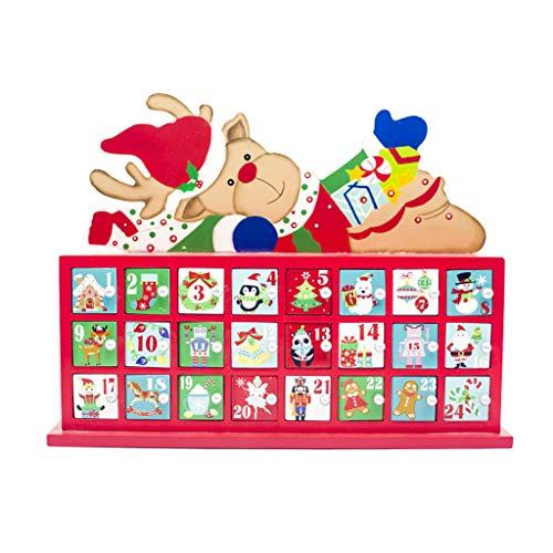 Liaobeiotry Kerstmis Houten Geschilderde Elk Countdown Advent Kalender Kerstmis Opbergdoos