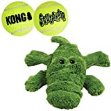 KONG - Cozie Ali The Alligator and 2 SqueakAir Balls - for Medium Dogs