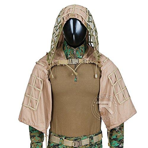 Tactical Ghillie Jacket Sniper Tog Ghillie Suit Base Brown