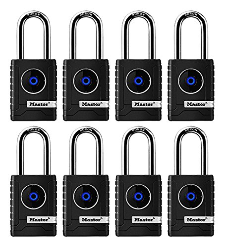 Master Lock 4401DLH Bluetooth Outdoor Padlock with Easy Backup Keypad Entry, 8-Pack,