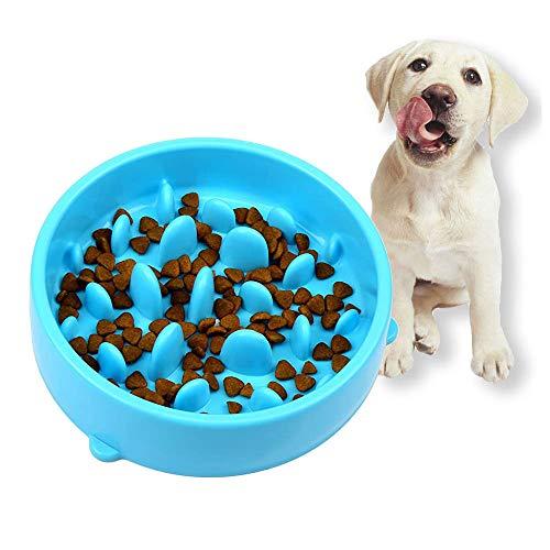 Hundenapf Slow Feeder - Rutschfest Fressnapf zur Langsameren Nahrungsaufnahme, Anti Schling Interessanter Interaktiver Pet Fressnapf, Umweltfreundlicher, Langlebiger, Ungiftiger Hundenapf (Blau)