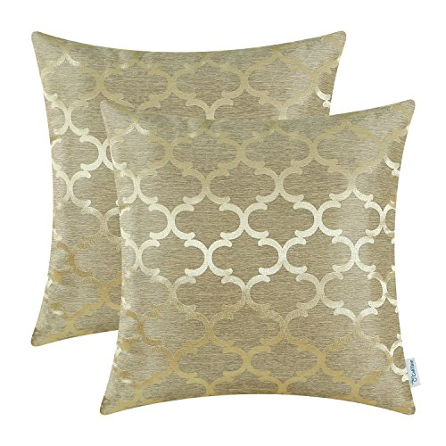 CaliTime Kissenbezüge Kissenhülle 2er-Pack Wurfkissenbezüge Schalen für Heim-Sofa-Couch Modern Glänzend & Matt Kontrast Quatrefoil Akzent Geometrisch 40cm x 40cm Gold
