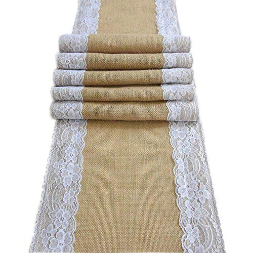 AmaJOY1pc 12x70 Inch (30cmx 180cm) Jute Burlap and White Lace Table Runner Country Rustic Wedding Decoration Bridal Shower Baby Shower Party Decor (1)