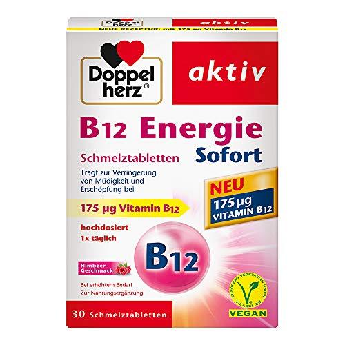 Doppelherz B12 Energie Sofort Schmelztabletten / Nahrungsergänzungsmittel bei erhöhtem Bedarf mit Vitamin B12 als Beitrag zur Verringerung von Müdigkeit und Erschöpfung / 1 x 30 Schmelztabletten