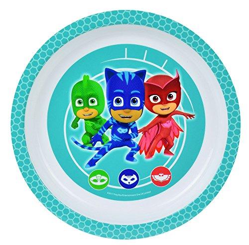 FUN HOUSE 005561 PYJAMASQUES Assiette Micro-ondable pour Enfant, Polypropylène, Vert, 22 x 22 x 1 cm