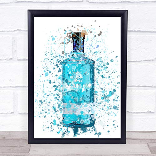 Aquarel Splatter blauw BlackBerry Gin fles muur kunst ingelijst Print Framed Oak Medium