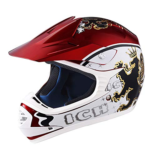 AHR DOT Youth Motocross Helmet Full Face Offroad Dirt Bike Helmet Motorcycle ATV Mountain Bike Sports L