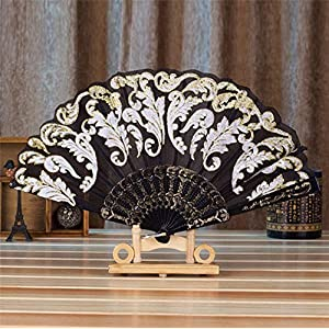 Summer Chinese Style Dance Wedding Party Lace Silk Folding Hand Held Flower Fan Gift Colorful LYMY