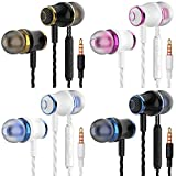 4 Pairs Headphone Heavy Bass Stereo Earphones Earbuds with Remote & Microphon,Laptops,Gaming Noise Isolating Tangle Free Headsets in Ear Headphones