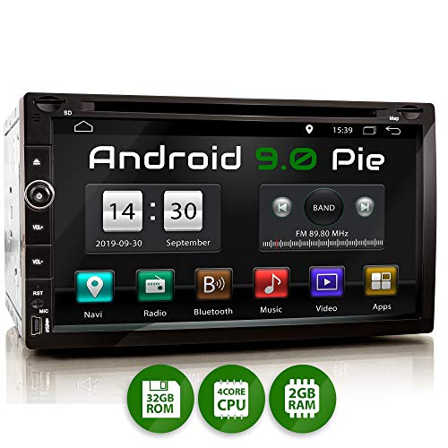 XOMAX XM-2DA758 Radio de Coche con Android 9 I Quad Core, 2GB RAM, 32GB ROM I GPS I Soporte WiFi, 3G, 4G, Dab+, OBD2 I Bluetooth I 6,9' Pantalla Táctil I DVD, CD, USB, SD, RDS I 2 DIN