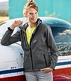 Damen Outdoor Softshelljacke mit Kapuze - Winddicht Funktions Regen Wasserabweisend Atmungsaktiv Tailliert Jacke (Grau, XXL)