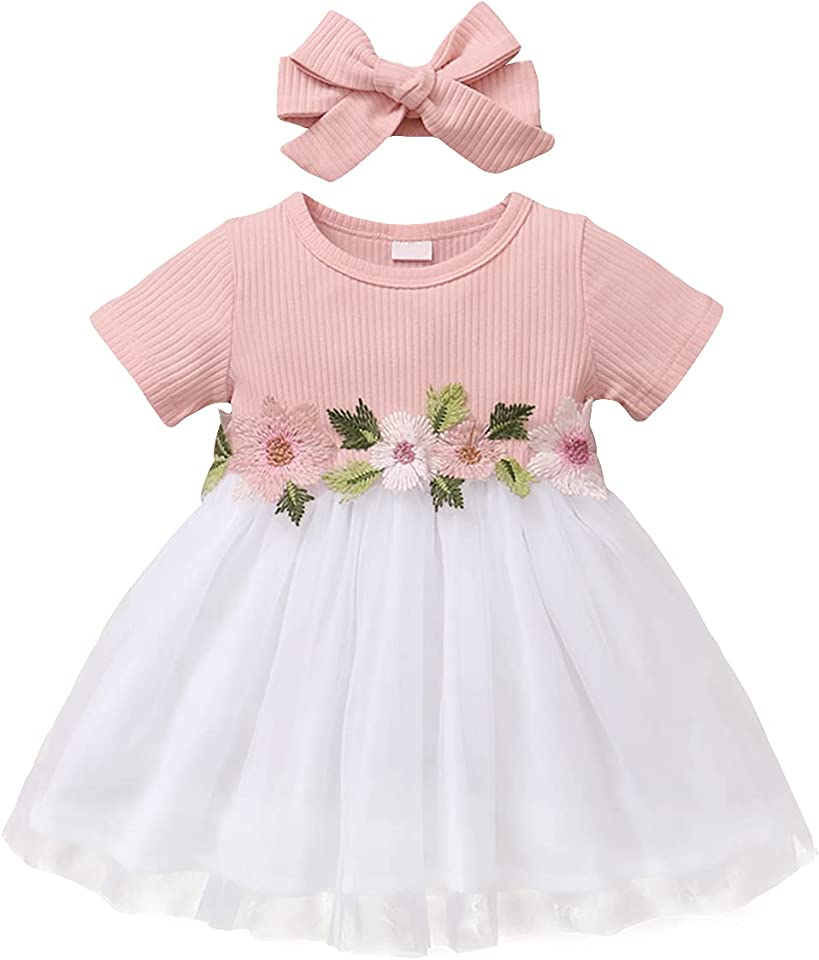 Baby Girls' Dress Infant Short Sleeve T-Shirt Tutu Dress + Bow-Knot Outfit Toddler Tulle Princess Skirts Summer (6 Months - 3 Years)