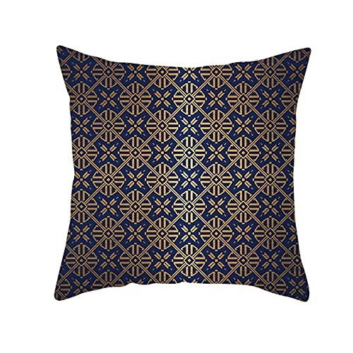 Agoble Adornos Salon, Funda De Almohada Elastica Poliéster 1 40X40cm Funda Cojin Marrón Azul Geometría