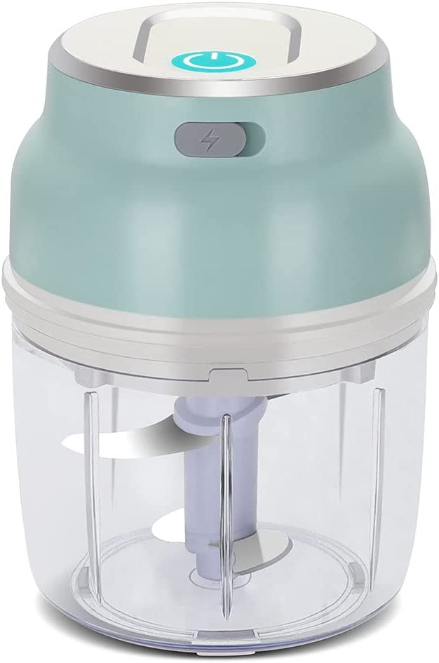 MAGALAVA Portable Mini Garlic Choppers, USB Electric Food Chopper with 4 Blades, Small Wireless Vegetable Food Processor for Garlic, Carrot, Onion, Fruit, Vegetables, Meat, Sald, Chili (250ML)