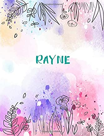 Rayne: 8.5x11 inches 110 Lined Pages 55 Sheet Peony Floral in Dream Design for Woman, girl, school, college with Lettering Name,Rayne