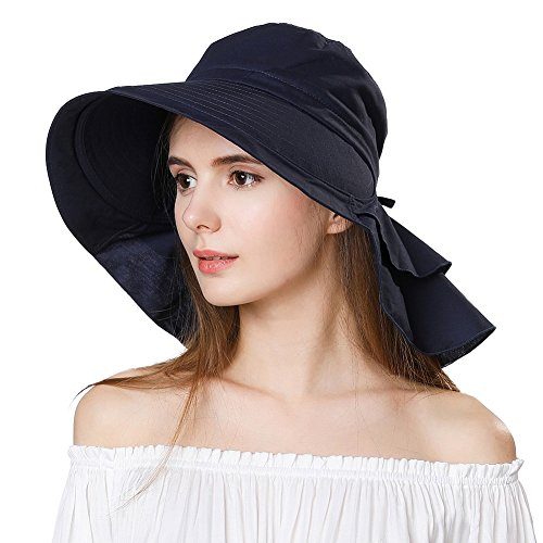 Summer Bill Flap Cap SPF 50 Cotton Sun Golf Hat with Neck Cover Cord Crushable Wide Brim for Women Navy