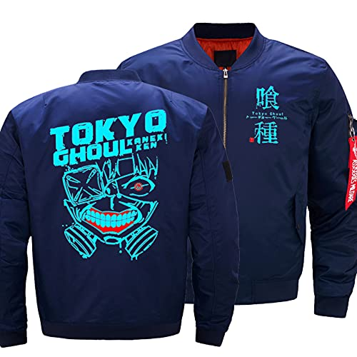 Chaquetas Para Hombre Para Tokio Ghoul Cremallera Con Cremallera Ligera Ligera Casual Al Aire Libre Bomber Chaqueta Outwear Abrigos Abrigos Cortavientos Top Track Jacket Sudaderas Regalo Blue-Medium