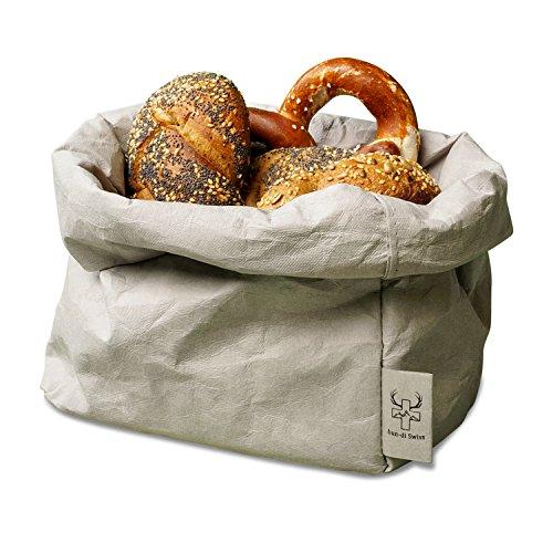 bun-di Swiss® - KREMPELBOX XL | Großer Brotkorb, Paper-Bag, Utensilo, Deko-Übertopf, Geschenkbox | Waschbares Papyr mit Lederoptik (Veganes Leder) | Ø 20cm (Stone)