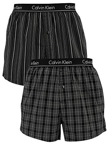 Calvin Klein 2P Slim FIT Boxer KGW, Schwarz Gemustert, XL
