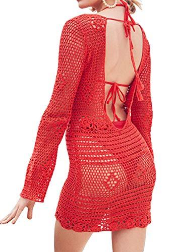 Women's Fashion Swimwear Crochet Tunic Bikini Swimsuit Cover Up/Beach Dress… (C Red, One Size fits US S-XL)