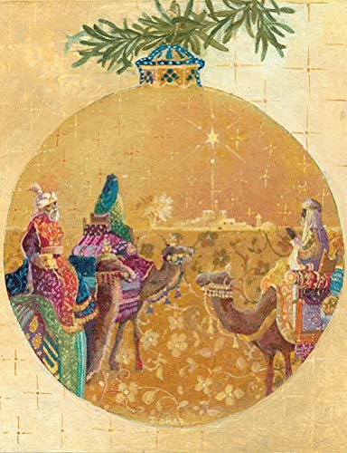 Caspari Three Kings Ornament Boxed Christmas Cards - 16 Cards & Envelopes