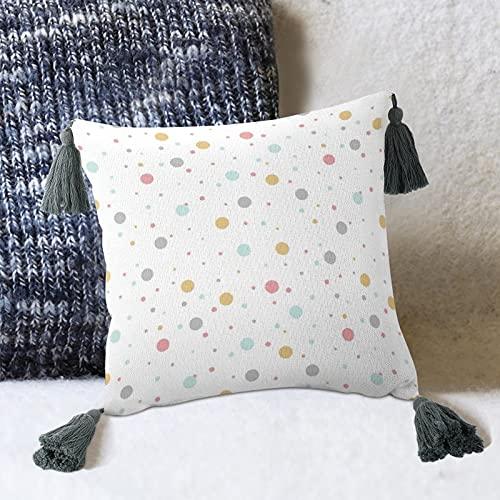 by Unbranded Papel Pintado Lunares Diseño Círculo Decorativo Almohada De Lino Almohada Con Borlas Almohada De Algodón Para Sofá Dormitorio Salón Decoración Cuadrado 10 Pulgadas